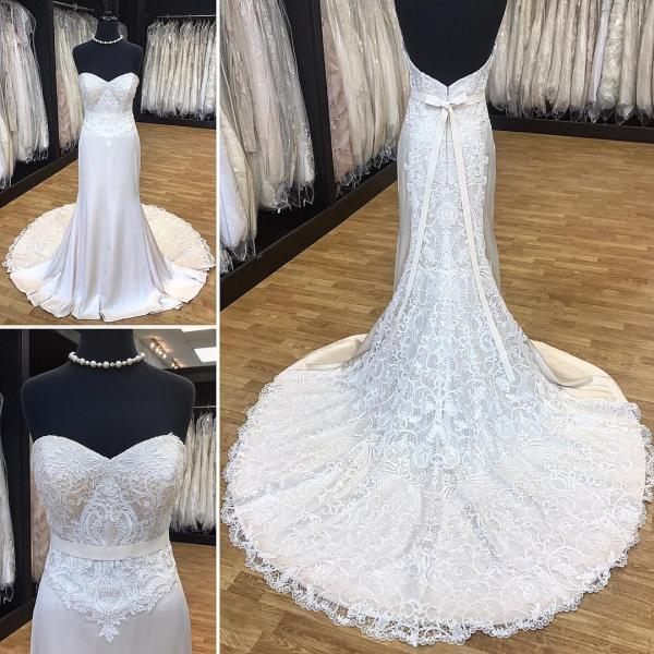 Elegant Strapless Mermaid Long White Bridal Gown