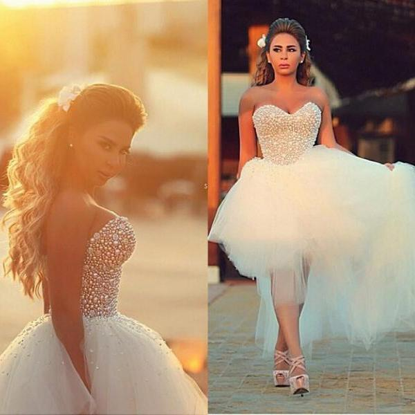 Hot Sale 2018 Charming High Low Beach Wedding Dresses Sweetheart Full Beads Top Tulle