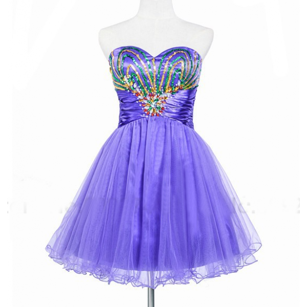 Purple Homecoming Dresses Open Back Sleeveless A-Line/Column Sweetheart Neckline