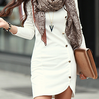 Stylish White Long Sleeve Sheath Dress