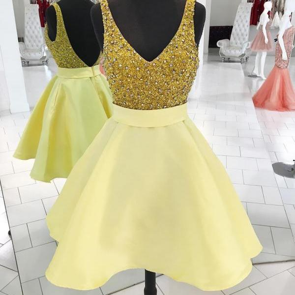 Sparkly Sequins Short Gold Homecoming Dress Party Dress