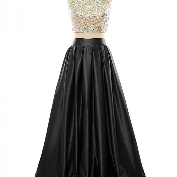 Floor Length Satin Backless Formal Dresses Featuring Rhinestones Halter Neckline