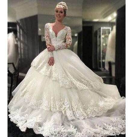Charming Noble Wedding Dresses Deep V-Neck Long Sleeves With Lace Applique Open Back