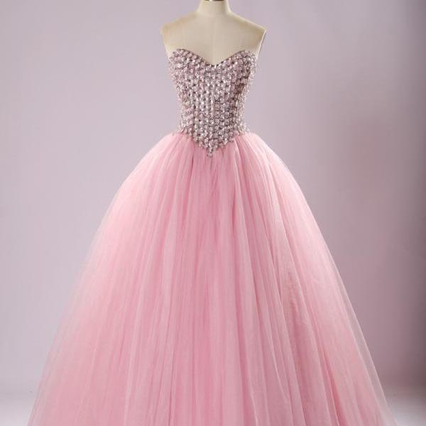 Pink A-Line Quinceañera Dress with Bejeweled Corset