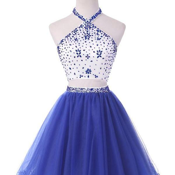 Women's Sexy Halter Royal Blue Two Pieces Beaded Homecoming Dress 2017 High Quality