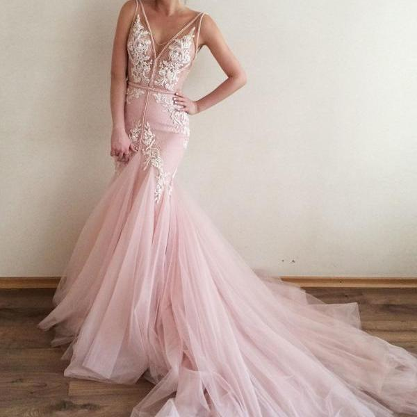 2018 Pink Sexy Mermaid Wedding Dresses for Bride ,Deep V-neck Royal Train Wedding Bridal Gowns for Women