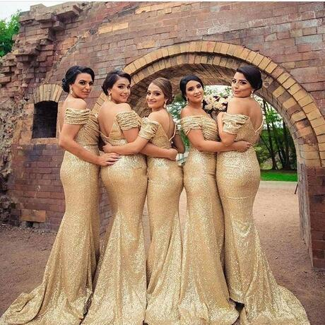 Sexy Gold Mermaid Bridesmaid Dresses Off Shoulder Sweep Train Backless Sequins Formal Maid of the Honor Dresses