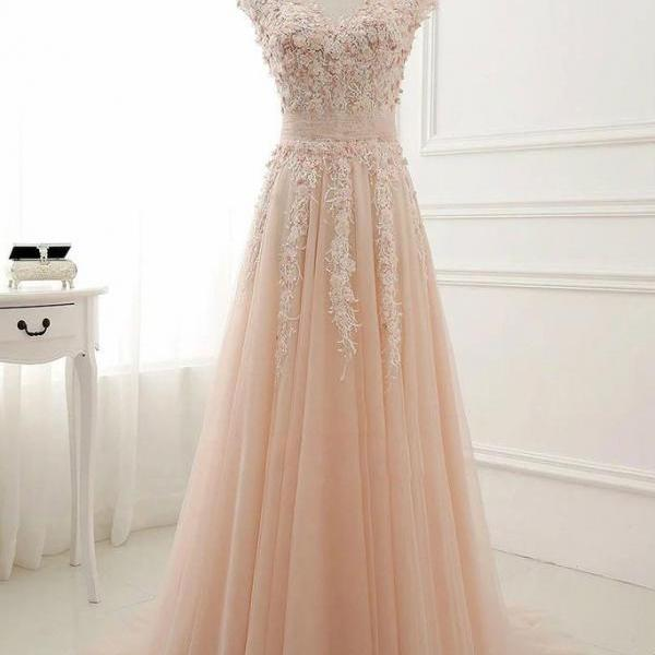 Round Neck Prom Dress,Lace Appliques Prom Dress,Tulle Prom Dress,A-Line Long Prom Dress