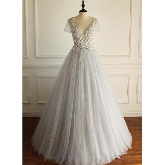 Short Sleeves Gorgeous V Neck Sexy Floor-length Wedding Dress,Appliques Bridals Dress,Long Prom Dresses