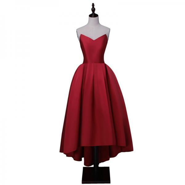 sweetheart neck high-low satin lace-up back simple style prom gown burgundy