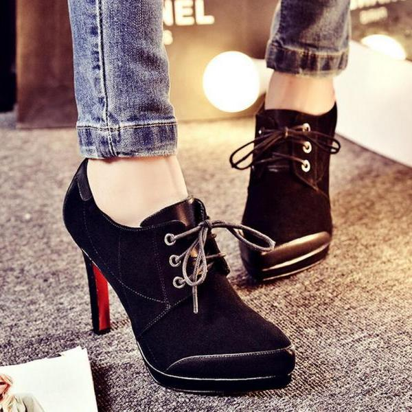 Pumps Heels Women Lace Up Platform Thin High Heel Solid Pointed Toe Richelieu