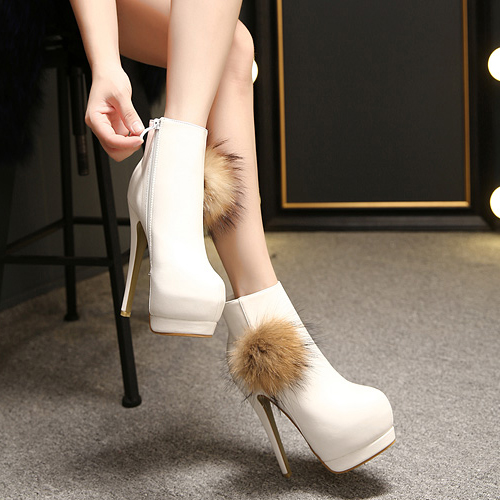 Spring Autumn Round Toe Zipper Super High Stiletto White Pu Ankle Feathers Martens Boots