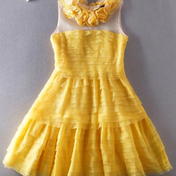 Organza Skirt Dress Sleeveless Dress