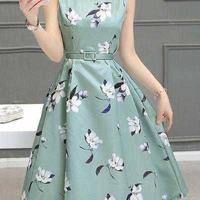 High Waist A-Line Floral Print Sleeveless Dress