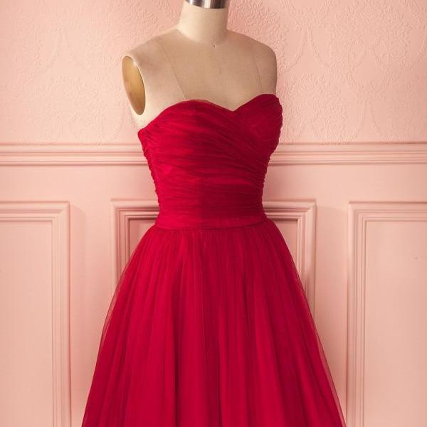 Red Strapless Tulle Knee Length Party Dress,A Line Homecoming Dress With Ruched Bodice