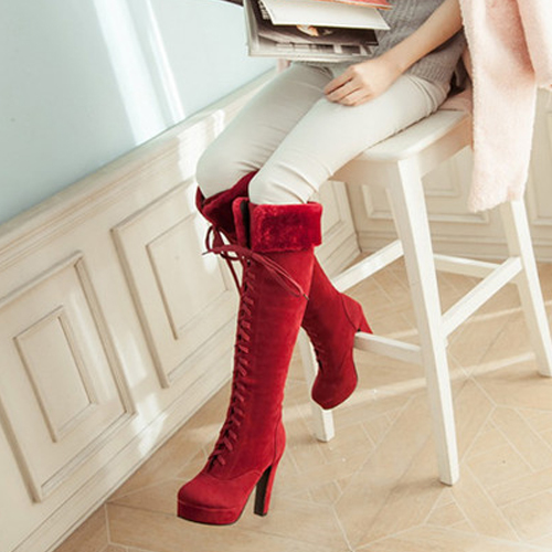 Winter Suede Round Toe Chunky Super High Lace Up Knee High Cavalier Boots
