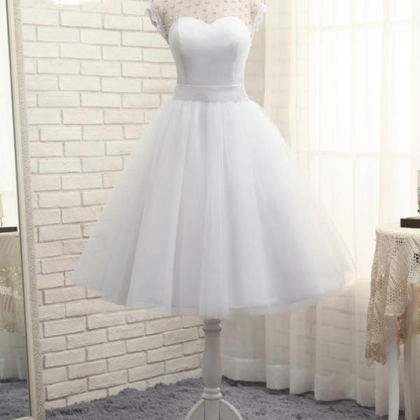 2017 Short Wedding Dresses A-line Tea Length Tulle Crystals Bow Backless Cheap Boho Wedding Gown