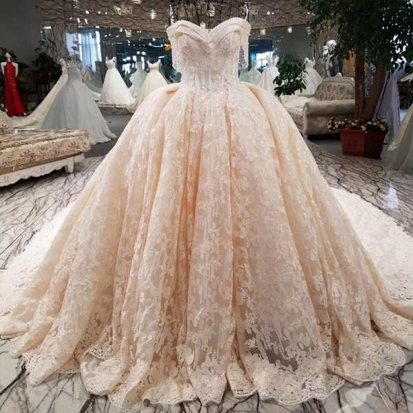 Luxury wedding dress beading ball gown off the shoulder lace up lace bridal wedding gowns