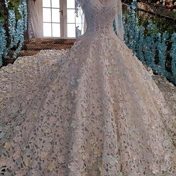 Luxury wedding dress for bridal beaded ball gown long sleeves lace wedding gown