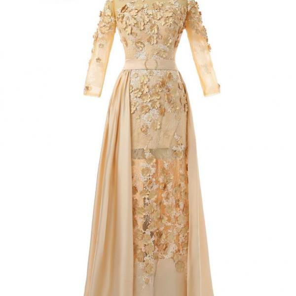 Champagne 2017 Muslim Evening Dresses Mermai 3/4 Sleeves Flowers