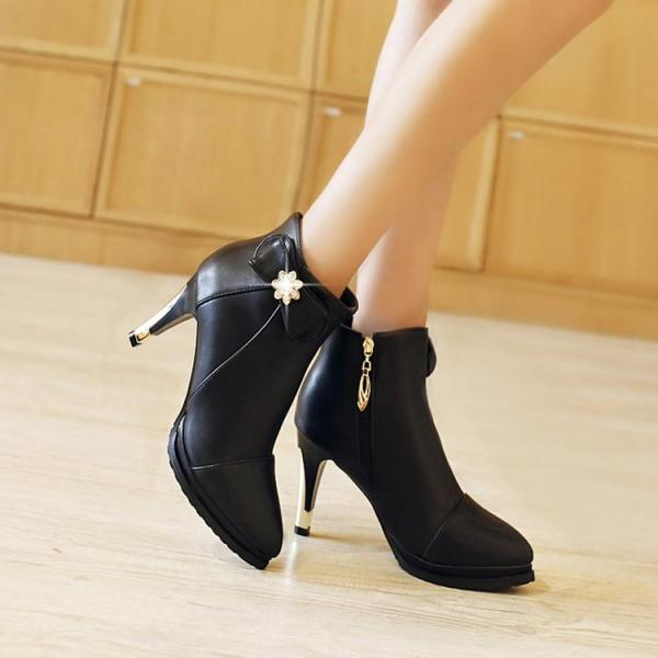 Women's Pure Color High Heel Stiletto Ankle Boot