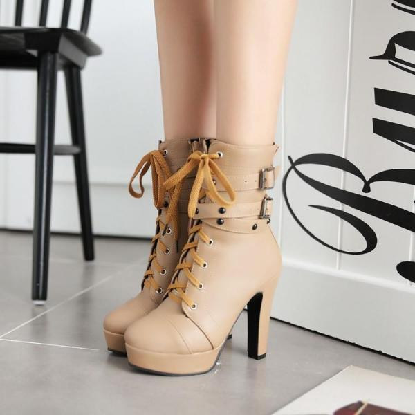 Women's Pure Color High Heel Thick Heel Shoelace Metal Decoration Boots