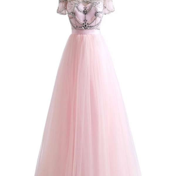 Ball Gown Crystal Beading Pink White Colors Tulle Sexy Backless Beach Prom Dresses