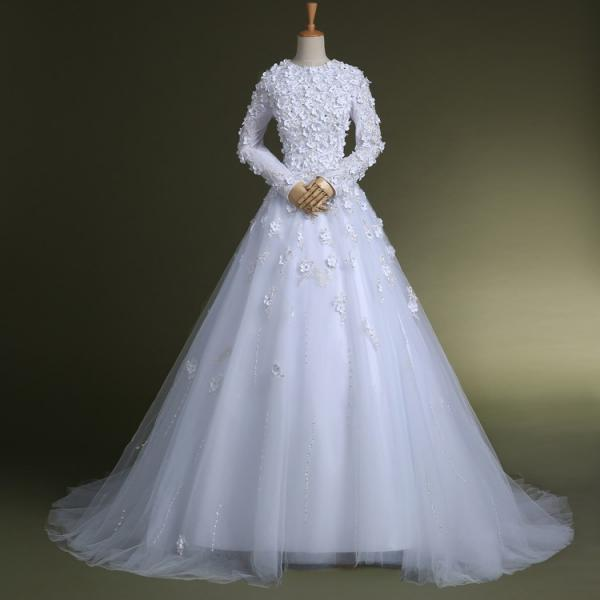 Custom Made White Long Sleeve Floor Length Modest Wedding Dress with Floral Applique