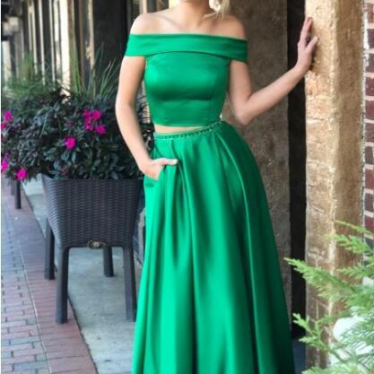 Two Piece Off Shouler Green Long Prom Dress with Pockets,Waist Beaded Evening Dress