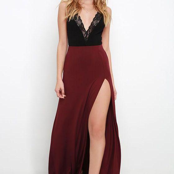 Burgundy evening Dresses Wine Red Black Lace Party Gowns