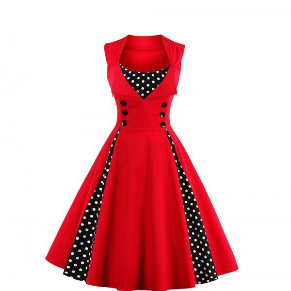 Women Dress Sleeveless Polka Dot Elegant Ladies Red A Line