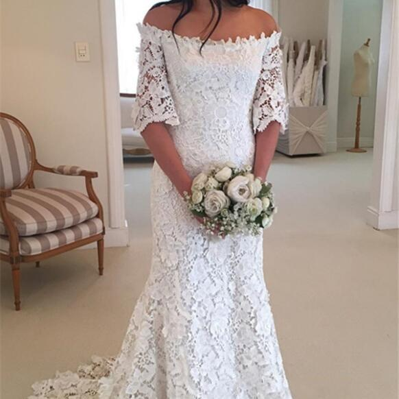 Off-the-Shoulder White Lace Half-Sleeves Wedding Dress,2018 Beach Wedding Dresses