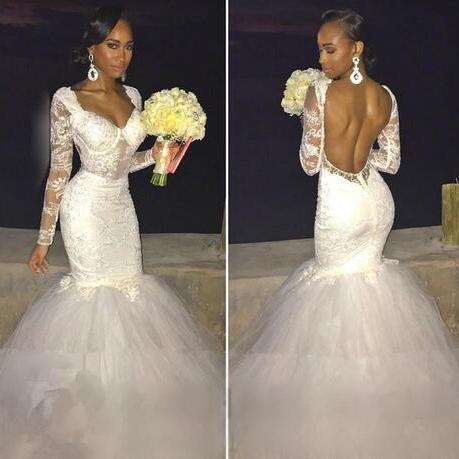Backless Lace Puffy Tulle Mermaid Evening Gowns Formal African Dress