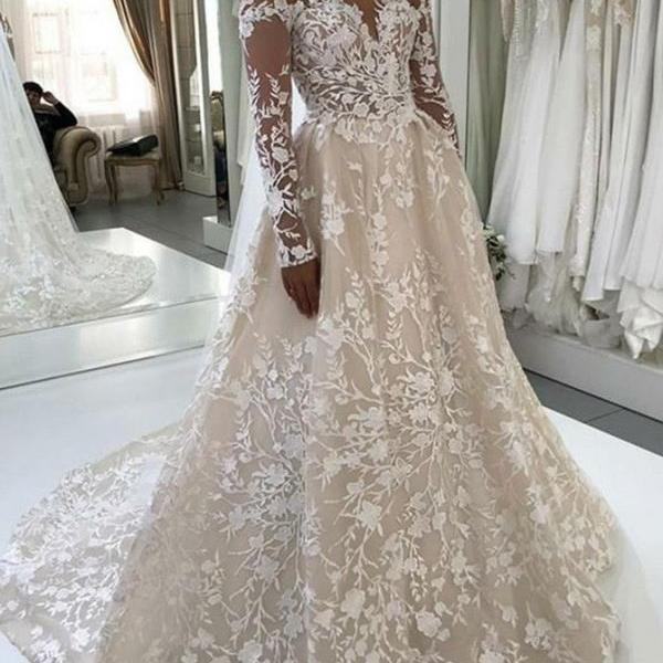 Sheer Neck Long Sleeves Champagne Wedding Dresses with Appliques Lace