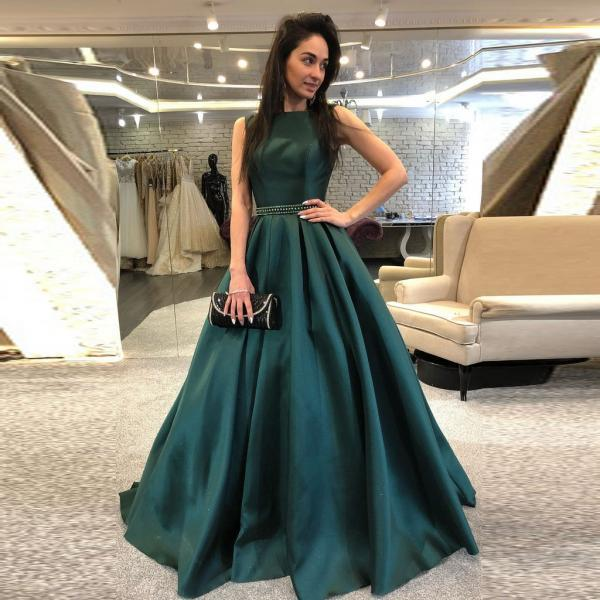 Dark Green Backless Prom Dress,Sweep Train Beaded Evening Dress