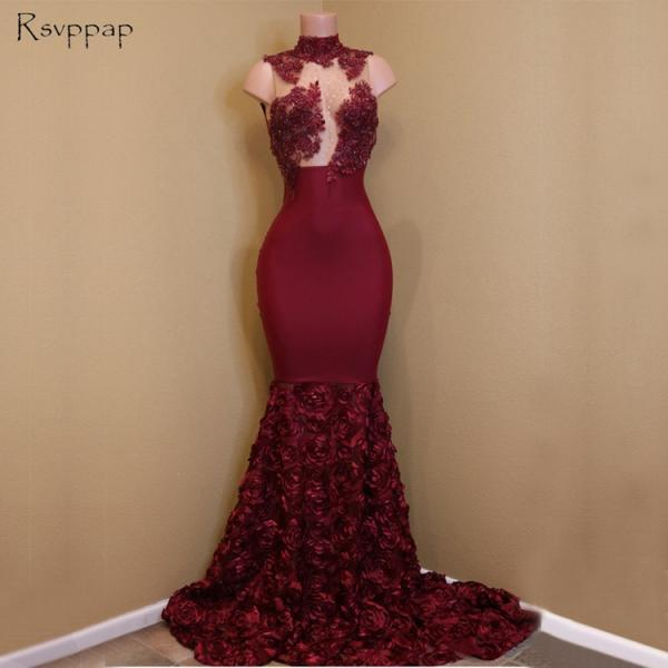 2018 Sheer Nude Top Lace Mermaid African Flowers Burgundy Party Prom Dress