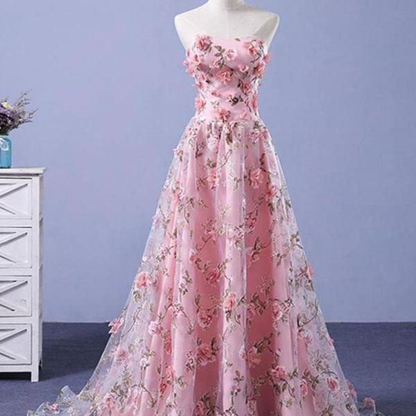 Pink Prom Dresses A-line Sweetheart Sweep Train Floral Print Long Lace Prom Dress
