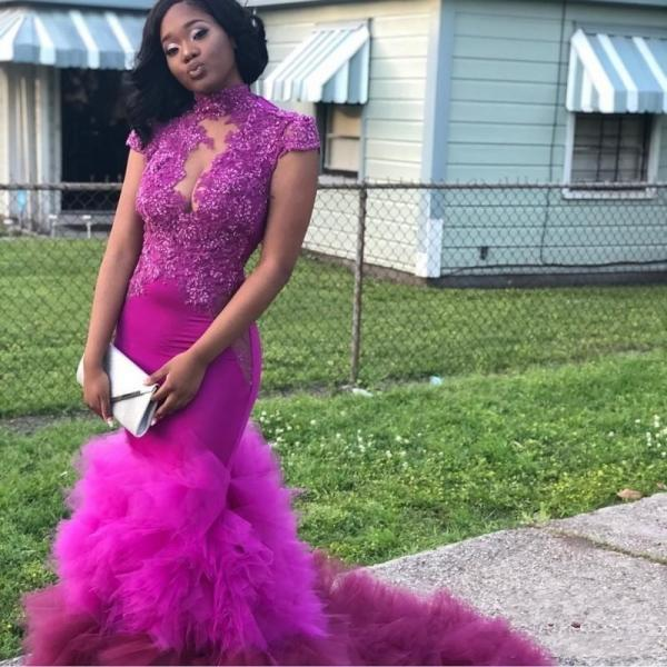 Purple African Cap Sleeves Prom Dresses 2018 High Neck Sequins Lace Appliques Mermaid Evening Gowns