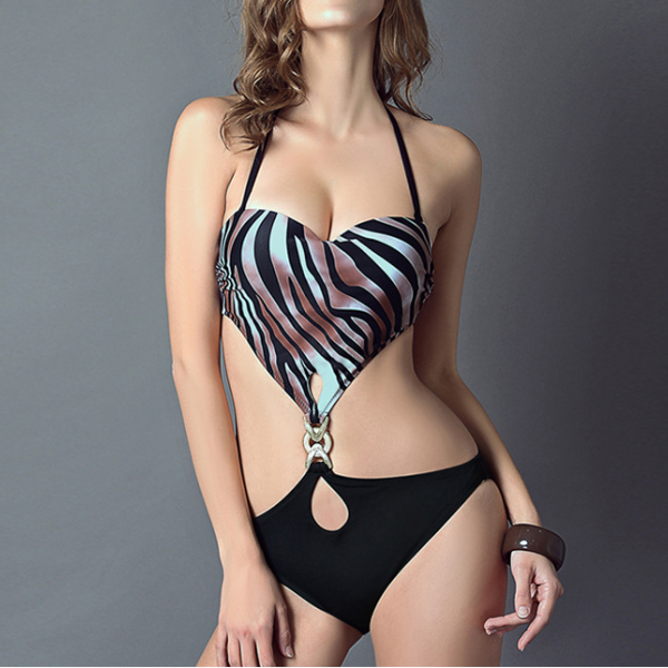 Fashion Halter Black Stripes With Breast Pad Without Steel One-Piece Fashion Sexy Bikini