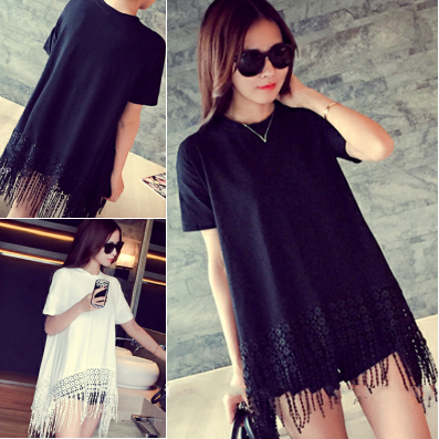 2015 summer new fashion design all-match irregular solid major suit - fringed hem female T-shirt