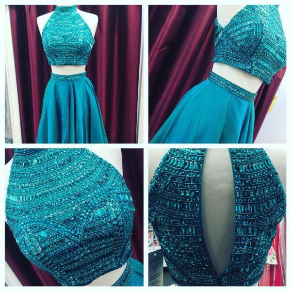 Two Pieces Beading Prom Dress,Long Prom Dresses,Charming Prom Dresses,Evening Dress Prom Gowns, Formal Women Dress,prom dress
