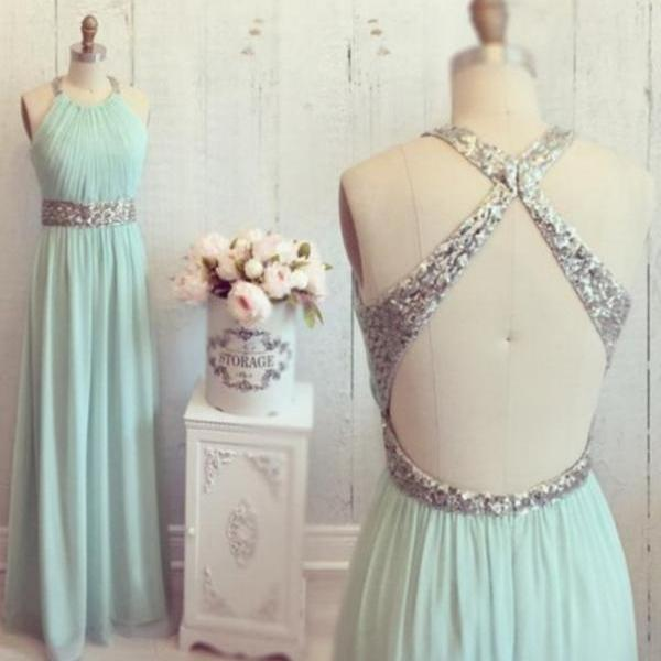 Custom Made A Line Round Neck Backless Long Prom Dresses, Evening Dresses, Formal Dresses