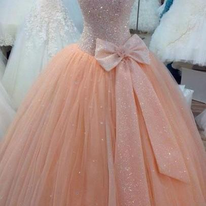Custom Made Pink Sweetheart Neckline Prom Dresses, Pink Ball Gown Dresses