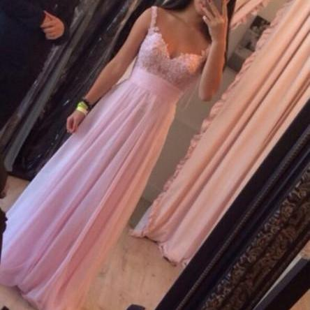 Custom Made Pink A Line Long Prom Dresses 2015, Dresses for prom, Pink Long Evening Dresses, Pink Long Formal Dresses