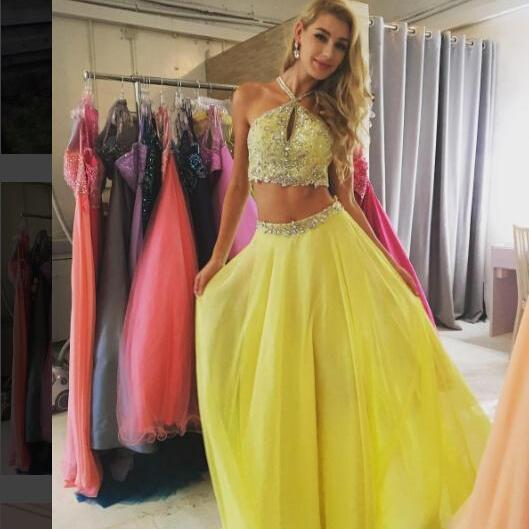 Charming Prom Dress,Sleeveless Two Piece Prom Dress,Beading Formal Dress,Long Evening Dress