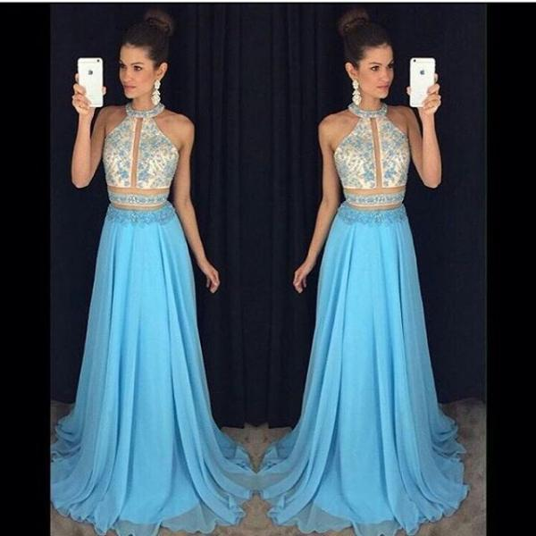 Charming Prom Dress,Sleeveless Two Piece Prom Dress,Long Evening Dress,Sexy Party Dress