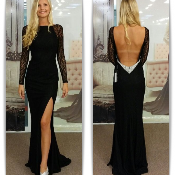 Open Back Black Long Sleeves Prom Dresses,Sexy Mermaid Lace Prom Gowns,Charming Evening Gowns
