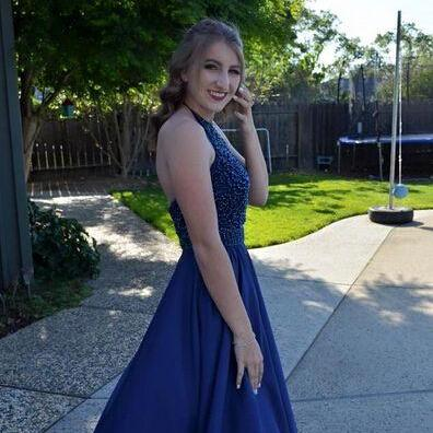 2017 Custom Made Royal Blue Beaded Prom Dress,Sexy Sleeveless Halter Evening Dress,A-Line Party Gown, High Quality
