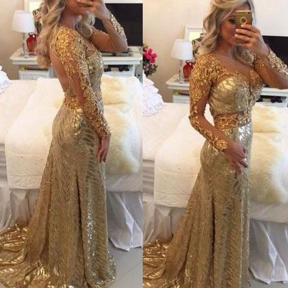 Gorgeous V-neck Lace With Beading Long Sleeves Gold Mermaid Prom Dress Backless