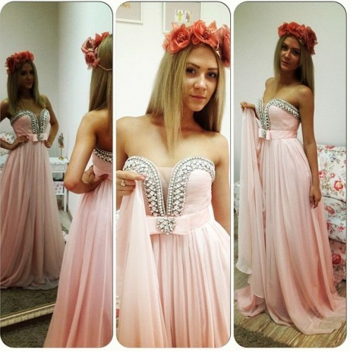 New Pink Chiffon Prom Dresses Long Formal Beads Party A-Line Dresses Custom-made
